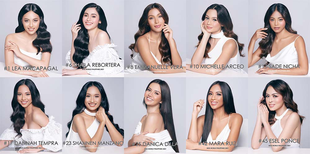 Top 10 Finalists for the Talent Competition 2021, Miss World Philippines.